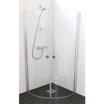 Dušinurk 850 x 850 mm (kaarjate klaasidega) kirgas klaas
