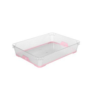Korv A4 36,5x26,5x7cm läbipaistev+roosa