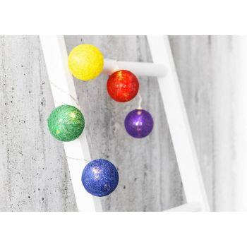 6410412716224 Valguskett 24LED puuvillapallid värvilised