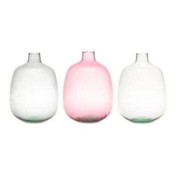 6410413116559 Lillevaas klaasist Pudel 33cm hall/roosa/läbipaistev