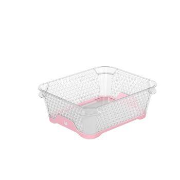 Korv A6 20x16x7cm läbipaistev+roosa