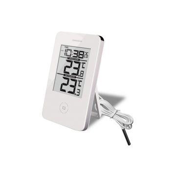 Digitaalne termomeeter kellaga sise/välis valge