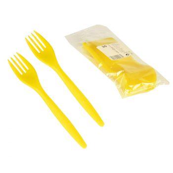 Plastmassist kahvlid 30tk kollased 4250065901880