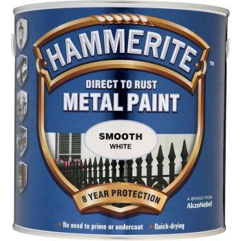 Metallivärv Hammerite Smooth, läikivsile pind, 750ml, valge