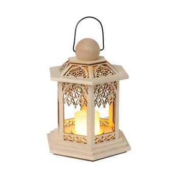 Latern puidust LED küünlaga 14x20x16,5cm