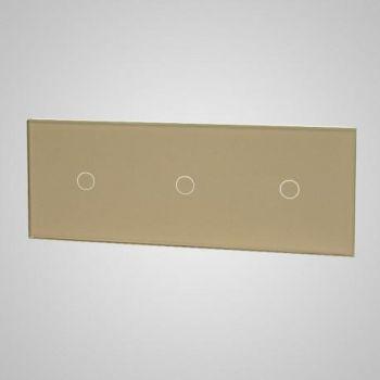 Klaaspaneel puutetundlikule lülitile 1+1+1 Tenux kuldne 47435339