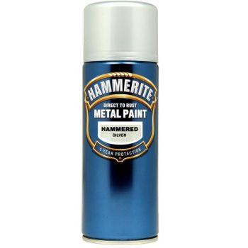 Metallivärv Hammerite Smooth, läikivsile pind, 400ml, aerosool, hõbedane