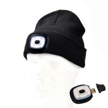 Müts Led-valgustusega 1W USB-laetav must