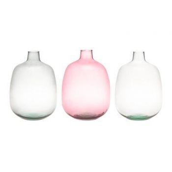 Lillevaas klaasist Pudel 33cm hall/roosa/läbipaistev