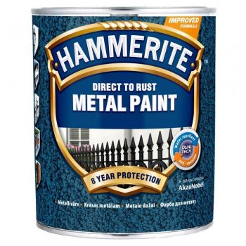Metallivärv Hammerite Hammered, vasardatud pind, 750ml, must