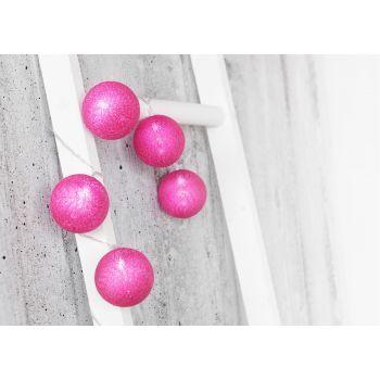 Valguskett 10LED 6cm roosad puuvillapallid 6410412792877