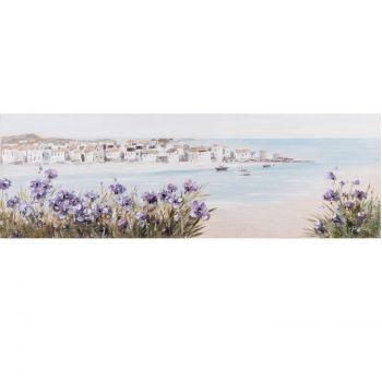 Pilt õlimaal 50x150cm rand/lillad lilled