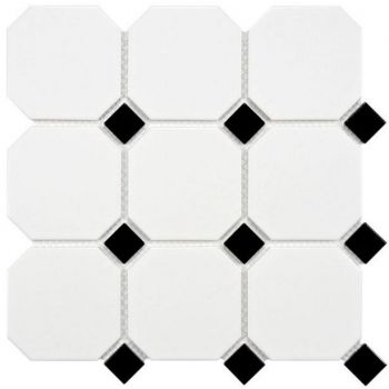 Põrandaplaat Octagon white dot black 10x10cm