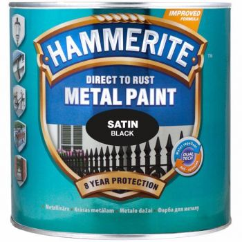 Metallivärv Hammerite Satin, satiinläikega pind, 250ml, must