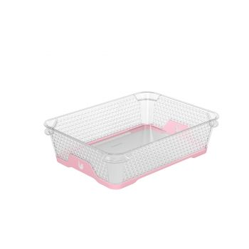 Korv A5 26,5x20x7cm läbipaistev+roosa