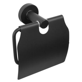 WC-paberihoidja kattega Carbon 12,8x13,5x6cm must