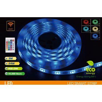 Valgusti LED riba 5m + adapter IP20 + pult