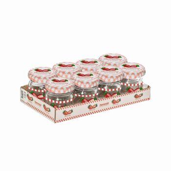 Kaanega klaaspurk Herevin maasikas 40ml 8tk 8699038028241