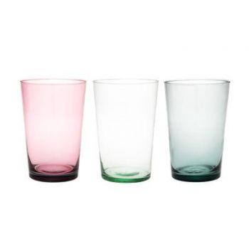 Lillevaas Sumu klaasist 26cm roosa/hall/läbipaistev