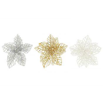 Kunstlill jõulutäht klipsiga kuld/hõbe/valge 6410413179295