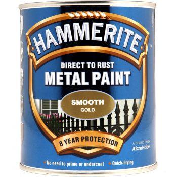 Metallivärv Hammerite Smooth, läikivsile pind, 250ml, kuldne