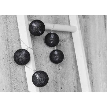 Valguskett 10LED 6cm puuvillapalli must 6410412792914