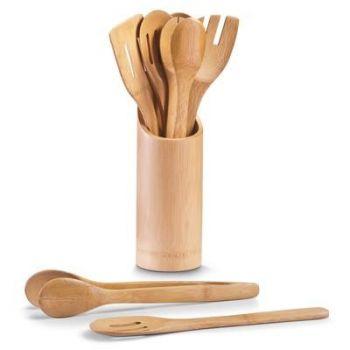 Söögiriistade hoidja bambusest koos 7 söögiriistaga