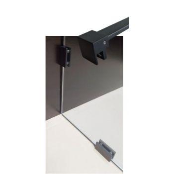 Fikseeritud dušisein 90x200cm musta värvi kanduritel
