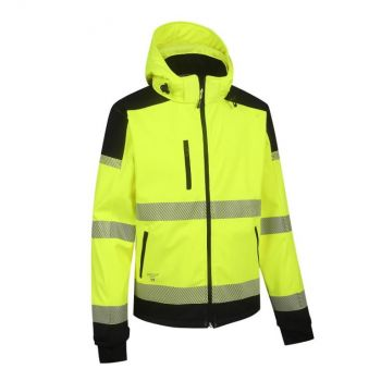 Kõrgnähtav softshell jakk Pesso Palermo kollane/must XL