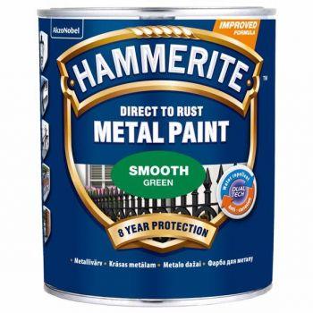 Metallivärv Hammerite Smooth, läikivsile pind, 750ml, roheline