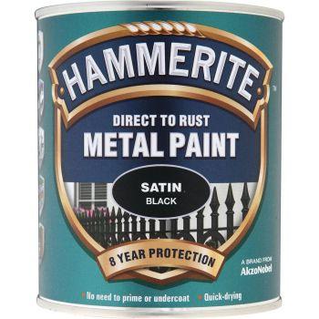 Metallivärv Hammerite Satin, satiinläikega pind, 750ml, must