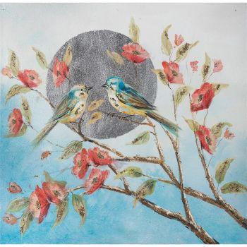 Pilt õlimaal 60x60cm linnud oksal sinine