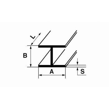 Alumiiniumist H-profiil B12 1m 12x9x1,3mm hõbe