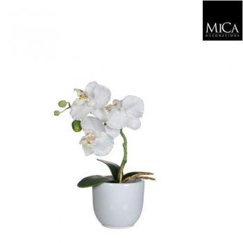 Kunstlill Orhidee potis valge 26cm