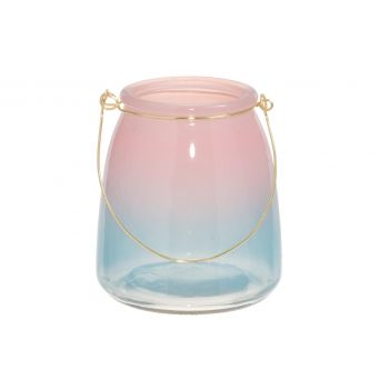 Küünlalatern klaasist roosa 13cm