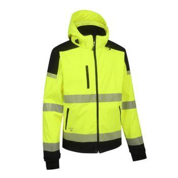 Kõrgnähtav softshell jakk Pesso Palermo kollane/must 2XL