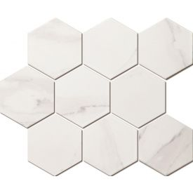Mosaiik Marble hexagon carrara white