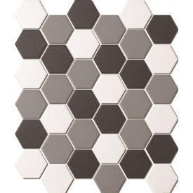 Mosaiik Unglazed hexagon white&black