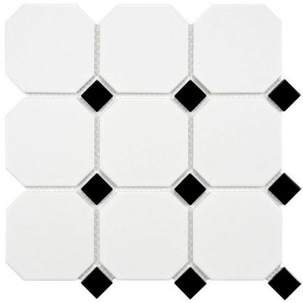 Põrandaplaat Octagon white dot black 10x10cm