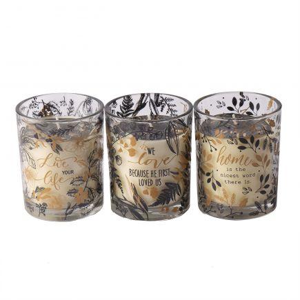 Küünal klaasis Aromart must/kuld
