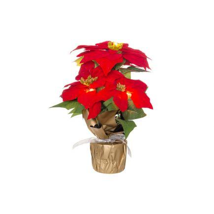 Kunstlill Jõulutäht potis LED tuledega 36cm punane 333112 Jõulukaunistused 6410413331105